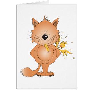 Cute Naughty Kitty Cat Cartoon and Friend Card