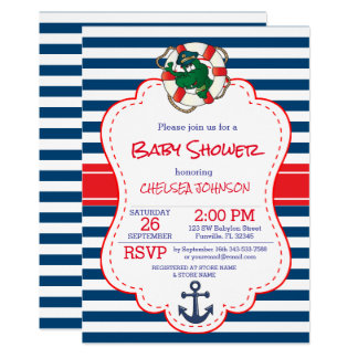 Cute Nautical Alligator Baby Shower Card
