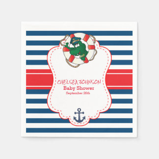 Cute Nautical Alligator Baby Shower Disposable Serviette