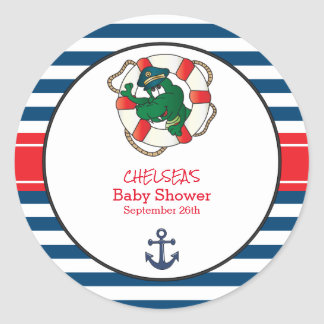 Cute Nautical Alligator Baby Shower Theme Classic Round Sticker