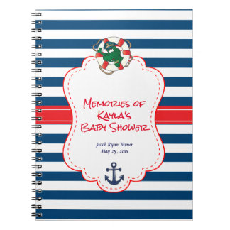 Cute Nautical Alligator Baby Shower Theme Notebooks