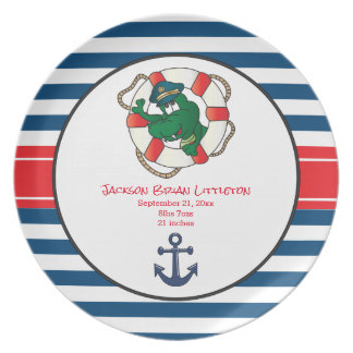 Cute Nautical Alligator Plate