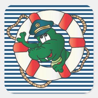 Cute Nautical Alligator Theme Sticker
