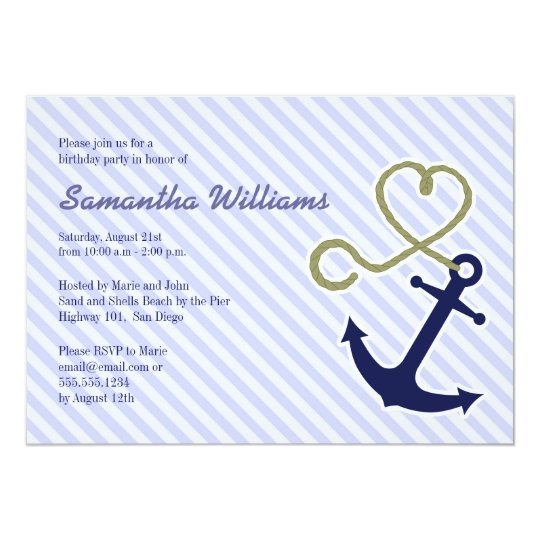 Cute Nautical Anchor Birthday Party Invitations
