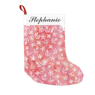 Cute Nautical Anchor Pattern on Pink Watercolor Small Christmas Stocking