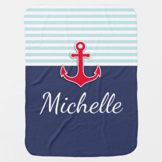 Cute Nautical Blue & Red Design Custom Name Baby Blanket