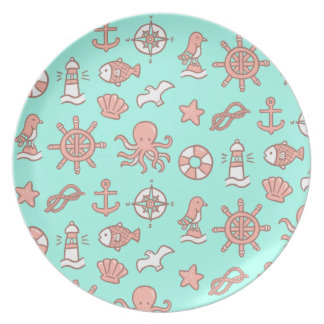 Cute Nautical Ocean Doodles Pattern Kids Plate
