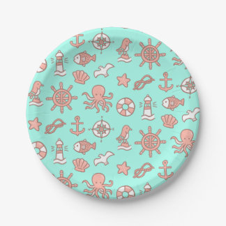 Cute Nautical Pattern Kids Birthday Party Supplies Paper Plate