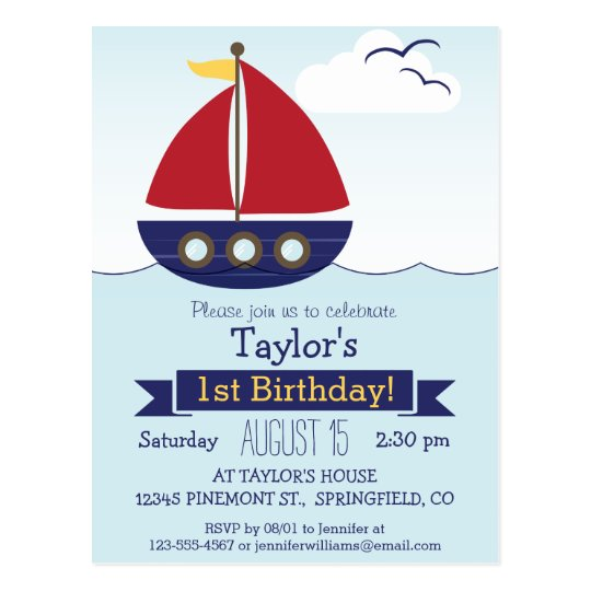 Cute Nautical Sailboat Kid's Birthday Party Postcard