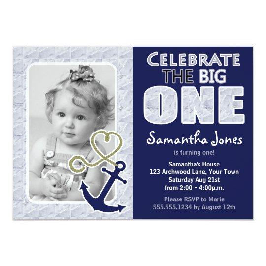 Cute Nautical Theme First Birthday Party Blue Card