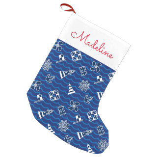 Cute Nautical Waves Pattern | Add Your Name Small Christmas Stocking