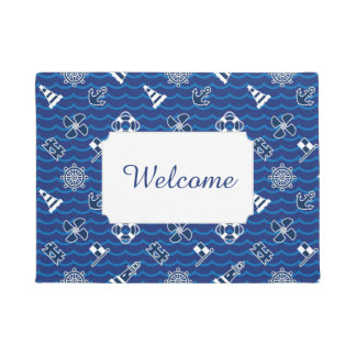 Cute Nautical Waves Pattern | Add Your Text Doormat