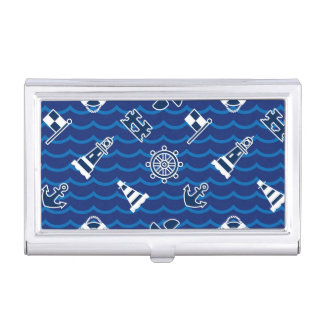 Cute Nautical Waves Pattern Business Card Holder
