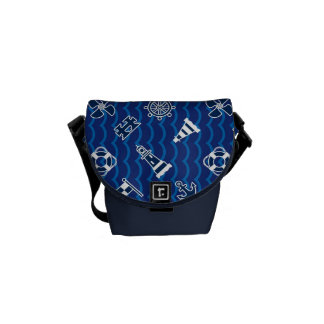 Cute Nautical Waves Pattern Courier Bags