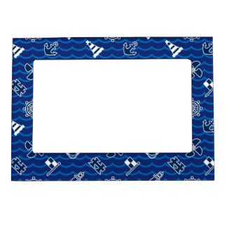 Cute Nautical Waves Pattern Magnetic Picture Frame