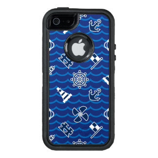 Cute Nautical Waves Pattern OtterBox Defender iPhone Case
