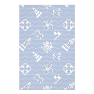 Cute Nautical Waves Pattern Personalized Stationery