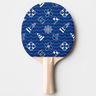 Cute Nautical Waves Pattern Ping Pong Paddle