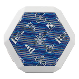 Cute Nautical Waves Pattern White Bluetooth Speaker
