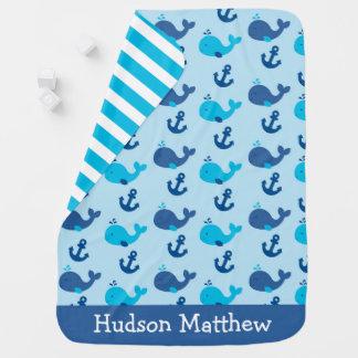 Cute Nautical Whale Baby Blanket