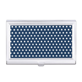 Cute Navy Blue and White Polka Dots Business Card Holder