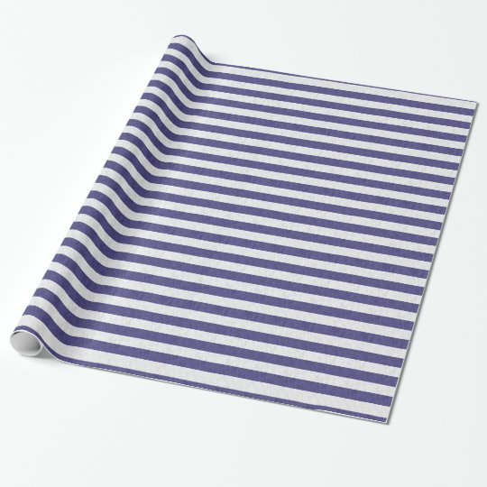 Cute Navy Blue and White Stripes Wrapping Paper
