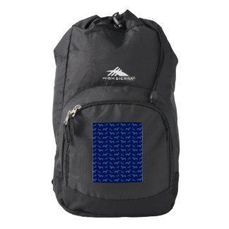 Cute navy blue dachshund pattern backpack
