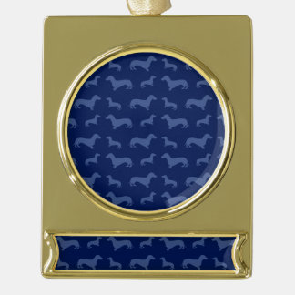 Cute navy blue dachshund pattern gold plated banner ornament