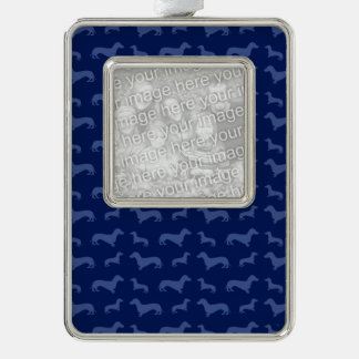 Cute navy blue dachshund pattern silver plated framed ornament
