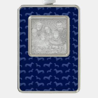 Cute navy blue dachshund pattern silver plated framed ornament