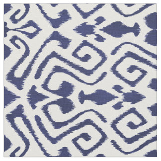 Cute navy blue ikat tribal patterns fabric