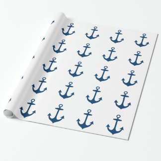 Cute Navy Blue Nautical Inspired Wrapping Paper