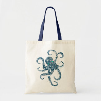 Cute Navy Blue Octopus White paisley Overlay Budget Tote Bag