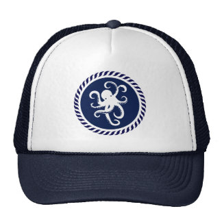 Cute Navy Blue & White Octopus Cap