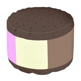 Cute Neapolitan Ice Cream Sandwich V2 Round Pouf