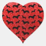 Cute neon red dachshund glitter pattern heart sticker