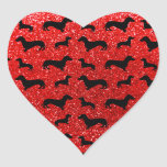 Cute neon red dachshund glitter pattern stickers