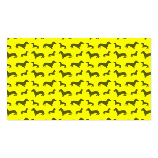 Cute neon yellow dachshund pattern business cards