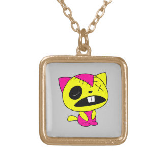 Cute Neon Zombie Kitty Cat Custom Necklace
