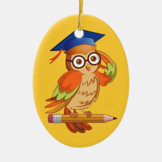 Cute nerd owl on top of a pencil christmas ornament