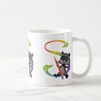 Cute Nerd Raccon Monogram S Coffee Mug