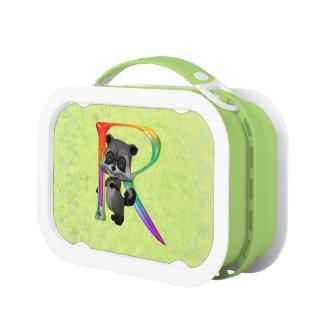 Cute Nerd Raccoon Monogram R Lunch Box