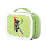 Cute Nerd Raccoon Monogram R Yubo Lunch Box