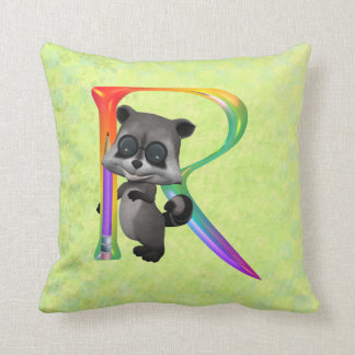 Cute Nerd Racoon Monogram R Throw Cushions