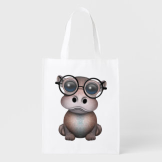 Cute Nerdy Baby Hippo Wearing Glasses Reusable Grocery Bag
