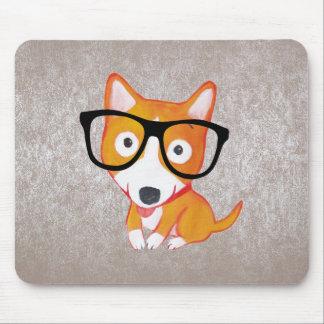 cute nerdy corgi mouse mat