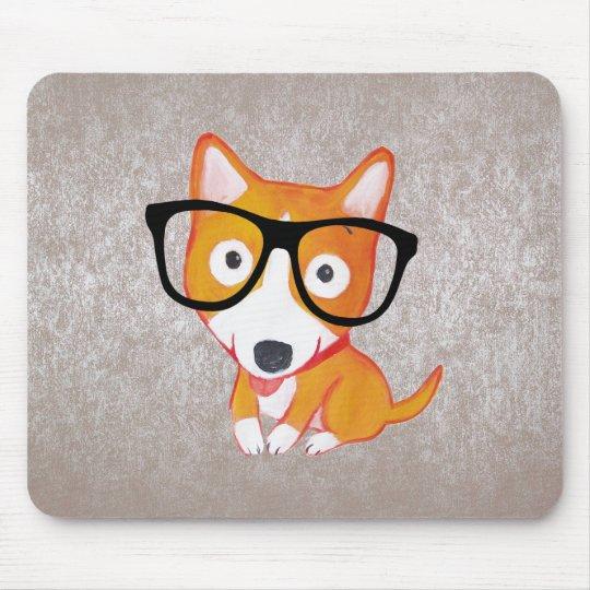 cute nerdy corgi mouse pad