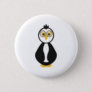 Cute Nerdy Penguin 6 Cm Round Badge