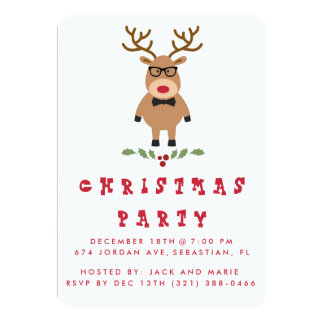 Cute Nerdy Reindeer Christmas Party Invitation