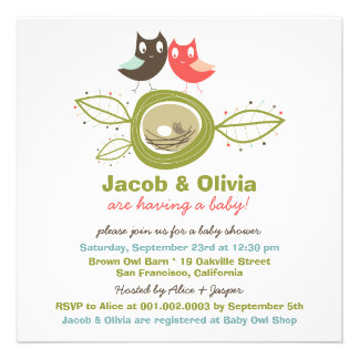 Cute Nesting Owl Family Baby Shower Invitation Invites